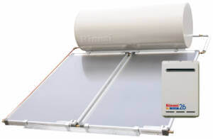 Rinnai Solar  Sunmaster Close Coupled System shown with Gas Boost